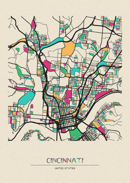 Wall Art - Drawing - Cincinnati, Ohio City Map by Inspirowl Design