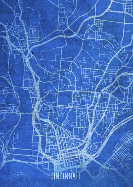 Wall Art - Mixed Media - Cincinnati Ohio City Street Map Blueprints by Design Turnpike