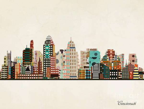 Wall Art - Painting - Cincinnati Ohio Skyline by Bri Buckley