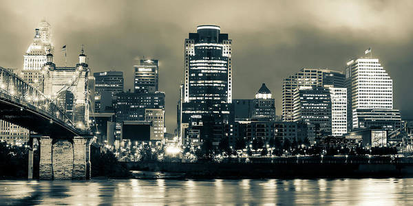 Photograph - Cincinnati Panoramic Night Skyline - Sepia Edition by Gregory Ballos