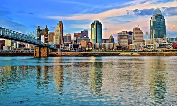 Wall Art - Photograph - Cincinnati Reflecting At The Riverfront by Frozen in Time Fine Art Photography