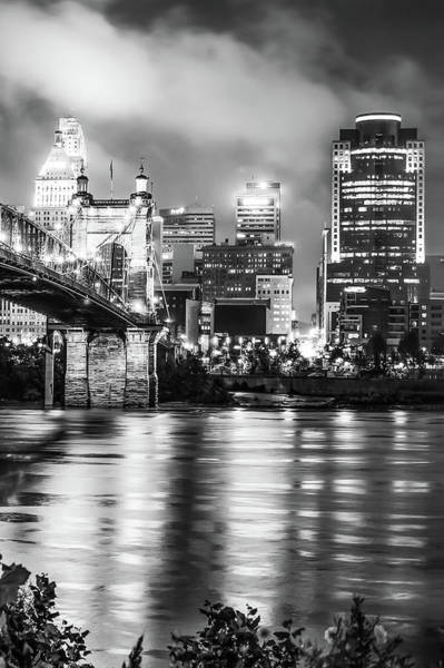 Photograph - Cincinnati Sepia Skyline Over Ohio River - Black And White Edition by Gregory Ballos