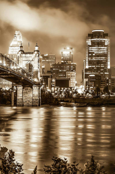 Photograph - Cincinnati Sepia Skyline Over Ohio River - Sepia Edition by Gregory Ballos