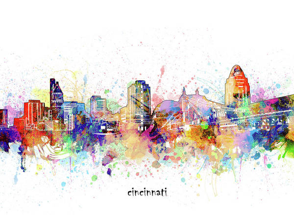 Wall Art - Digital Art - Cincinnati Skyline Artistic by Bekim M