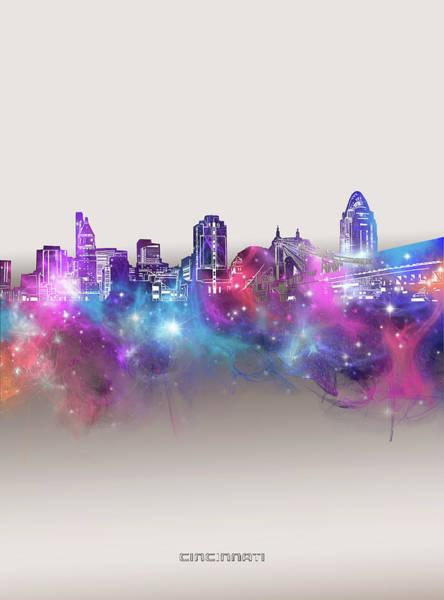 Wall Art - Digital Art - Cincinnati Skyline Galaxy by Bekim M