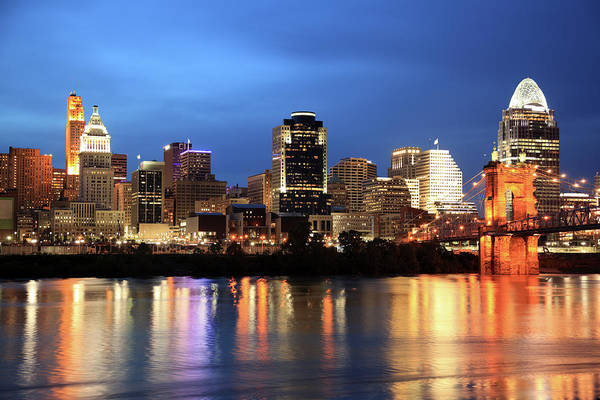 Ohio River Photograph - Cincinnati Skyline, Ohio by Veni