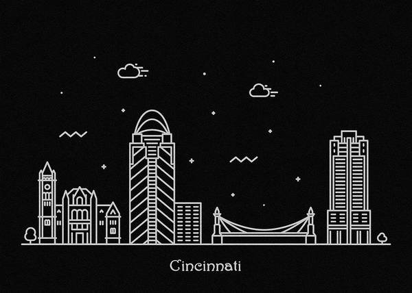Wall Art - Digital Art - Cincinnati Skyline Travel Poster by Inspirowl Design