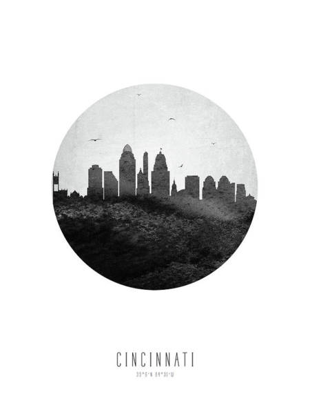 Wall Art - Digital Art - Cincinnati Skyline Usohci04 by Aged Pixel