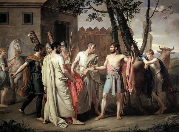 Virtue Painting - Cincinnatus Abandons The Plough To Dictate Laws To Rome by War Is Hell Store