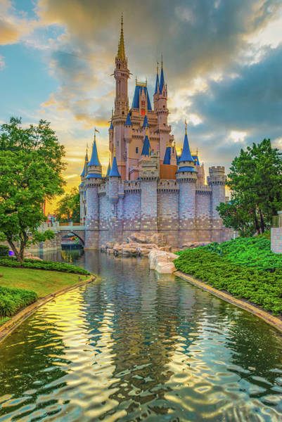 Wall Art - Photograph - Cinderella Castle And Magic Kingdom Florida Sunset by Gregory Ballos