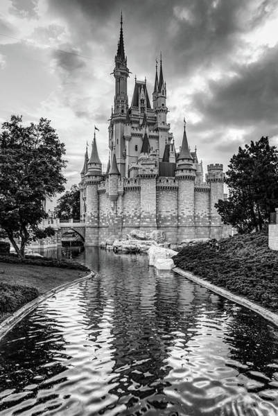 Wall Art - Photograph - Cinderella Castle And Magic Kingdom In Monochrome by Gregory Ballos