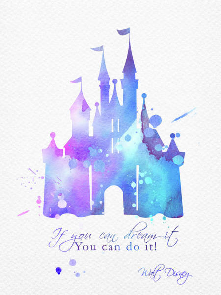 Wall Art - Digital Art - Cinderella Castle And Quote Watercolor Blue by Mihaela Pater
