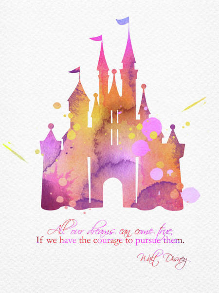 Wall Art - Digital Art - Cinderella Castle And Quote Watercolor Pink by Mihaela Pater