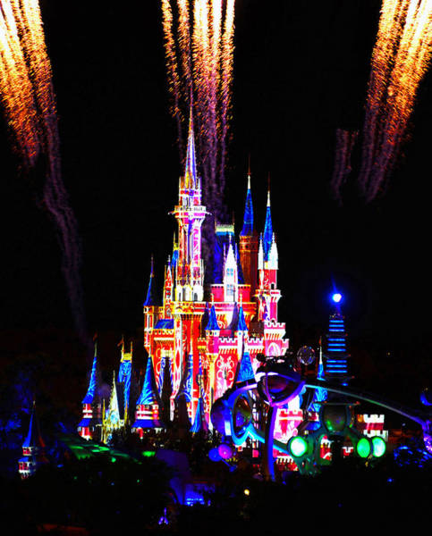 Tomorrowland Photograph - Cinderellas Castle With Projection Lighting And Fireworks by David Lee Thompson