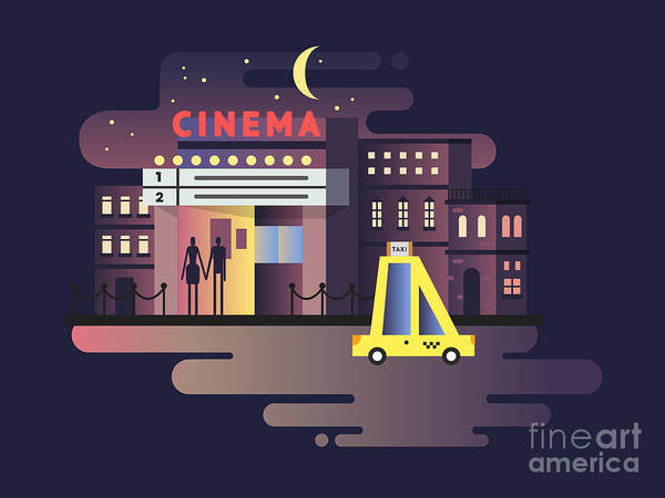 Film Industry Wall Art - Digital Art - Cinema Building Night by Kit8.net