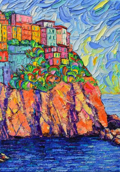 Painting - Cinque Terre Colorful Houses 7 Textural Modern Impressionist Knife Oil Painting Ana Maria Edulescu by Ana Maria Edulescu