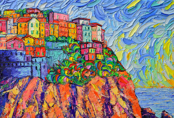 Painting - Cinque Terre Colors Textural Modern Impressionist Impasto Knife Oil Painting Ana Maria Edulescu by Ana Maria Edulescu