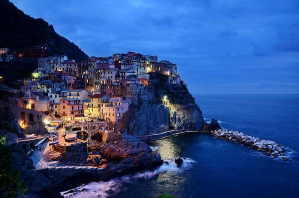 Wall Art - Mixed Media - Cinque Terre Italy Seaside View At Night by Design Turnpike