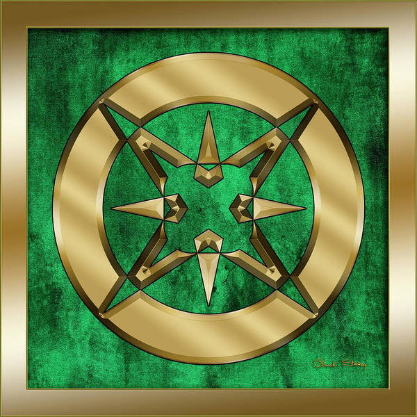 Digital Art - Circle 3 On Emerald by Chuck Staley