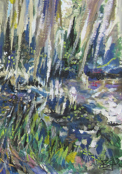 Painting - Circle B Reserve, Lakeland, Fl-detail by Jean Batzell Fitzgerald