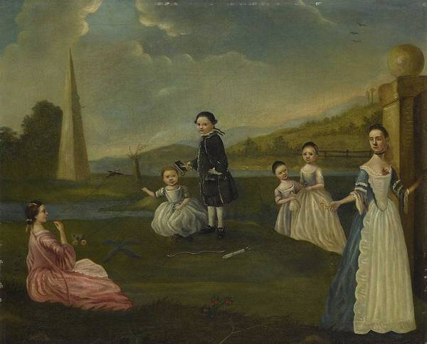Wall Art - Painting - Circle Of Arthur Devis A Lady And Her Five Children In A Landscape by Celestial Images