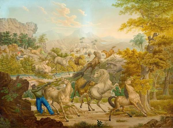 Hijack Wall Art - Painting - Circle Of Ducros, Abraham Louis  Rodolphe  Moudon 1748  1810 Lausanne  The Oriental Horse Hunt by Celestial Images