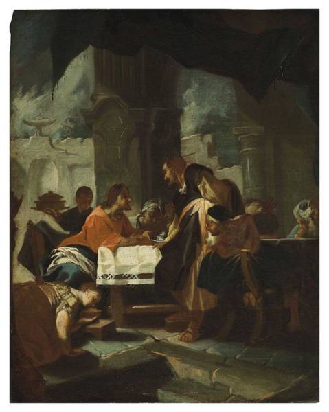 Wall Art - Painting - Circle Of Franz Karl Palko  Breslau 1724-1767 Munich  Christ In The House Of Simon The Pharisee by Celestial Images