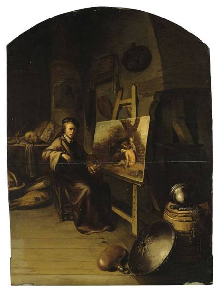 Wall Art - Painting - Circle Of Gerrit Dou  Leiden 1613-1675  An Artist In His Studio, Possibly A Portrait Of The Artist by Celestial Images