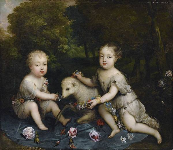 Wall Art - Painting - Circle Of Henri Gascar Portrait Of Two Children With A Lamb by Celestial Images
