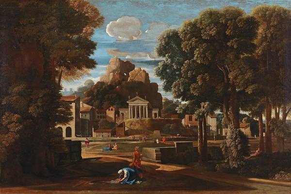 Wall Art - Painting - Circle Of Nicolas Poussin  Les Andelys 1594 1665 Rome Landscape With The Gathering Of The Ashes Of  by Celestial Images