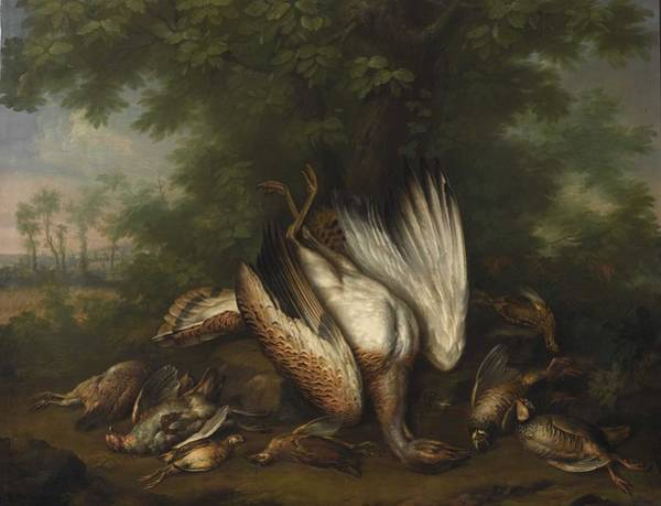 Wall Art - Painting - Circle Of Pieter Andreas Rysbrack Still Life Of Game Birds In A Landscape by Celestial Images