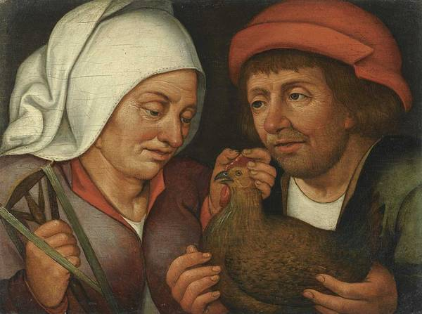 Wall Art - Painting - Circle Of Pieter Brueghel The Younger - Couple With A Hen And A Spindle by Celestial Images