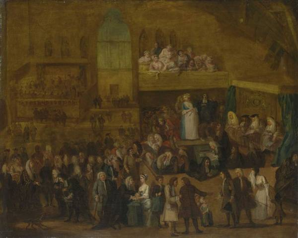 Wall Art - Painting - Circle Of William Hogarth  London 1697-1764  The Assizes Of Westminster Hall by Celestial Images