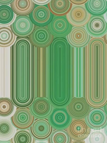 Digital Art - Circles Of Green And Tan by Rachel Hannah