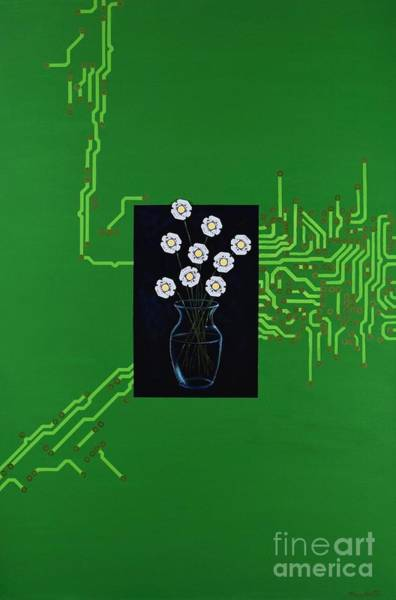 Leaded Glass Painting - Circuit Board Bouquet by Mary Scott