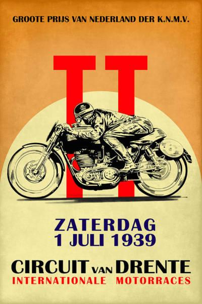 Photograph - Circuit Van Drente Vintage Motorcycle Racing Poster by Mark Rogan