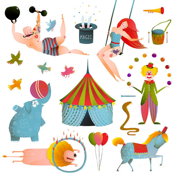 Quirky Wall Art - Digital Art - Circus Carnival Show Clip Art Vintage by Popmarleo