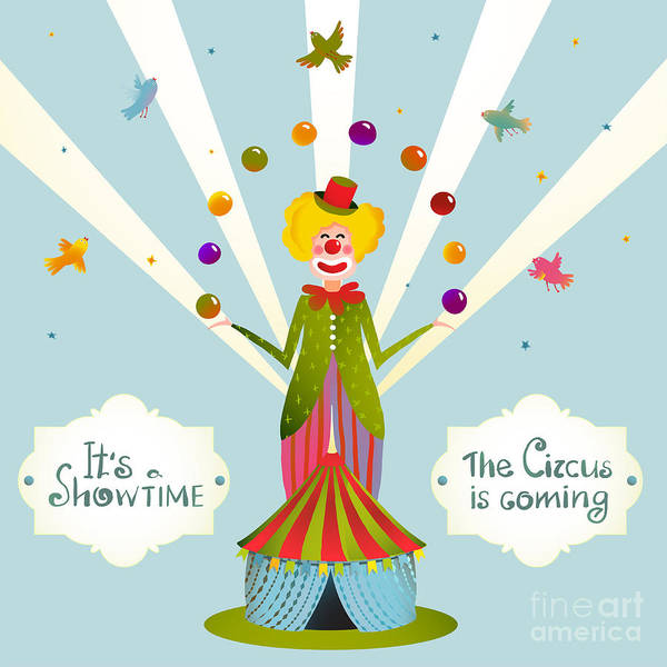 Wall Art - Digital Art - Circus Juggling Clown Carnival Show by Popmarleo
