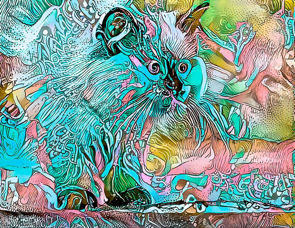 Digital Art - Circus Kitty Blue by Don Northup
