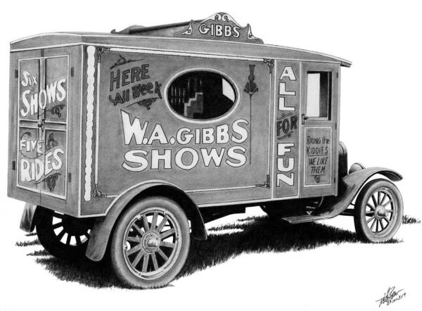 Wall Art - Drawing - Circus Truck by Lyle Brown