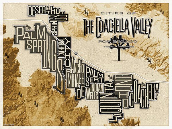 Rancho Mirage Digital Art - Cities Of The Coachella Valley by Mod City Gallery