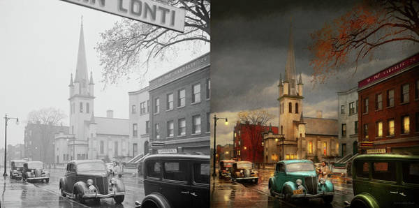 Photograph - City - Amsterdam Ny - Evening Prayers 1941 - Side By Side by Mike Savad