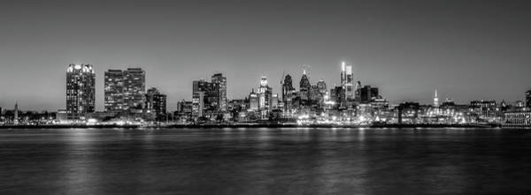 Wall Art - Photograph - City At Night - Philadelphia Along The Waterfront In Black And W by Bill Cannon