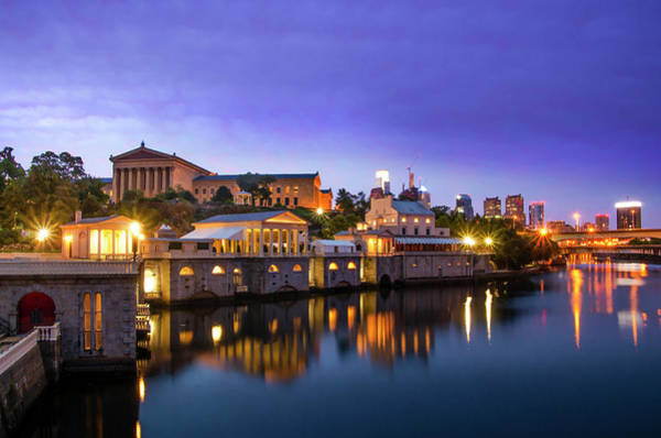 Photograph - City At Night - Philadelphia - Fairmount Waterworks And Art Muse by Bill Cannon