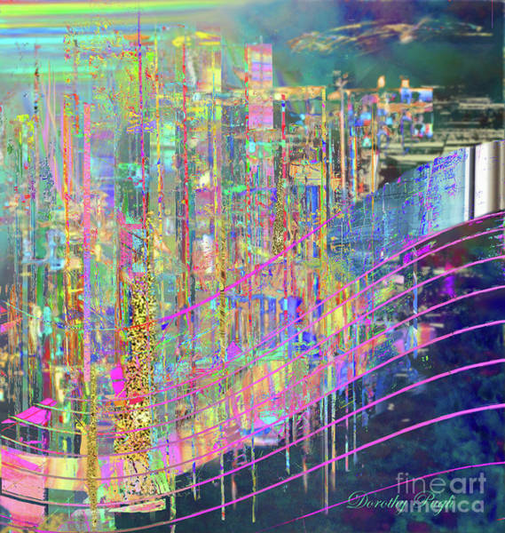 Digital Art - City At Sunset by Dorothy Pugh