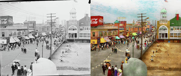 Photograph - City - Atlantic City Nj - Steel Pier 1909 - Side By Side by Mike Savad