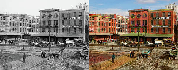 Photograph - City - Baltimore Md - Pratt St - Fruit Importers 1906 Right Half - Side By Side by Mike Savad