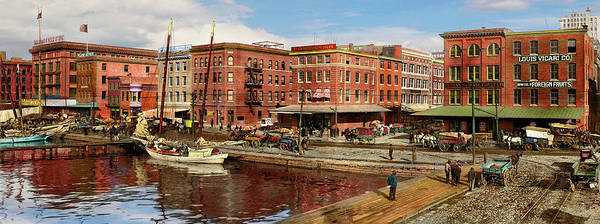 Photograph - City - Baltimore Md - Pratt St - The Business District Panorama 1906 by Mike Savad