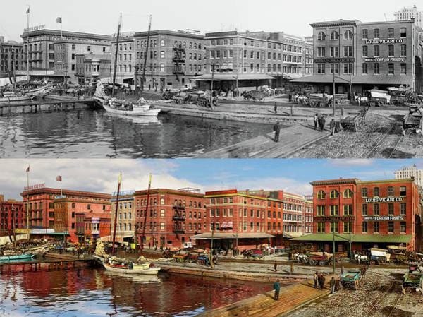 Photograph - City - Baltimore Md - Pratt St - The Business District Panorama 1906 - Side By Side by Mike Savad