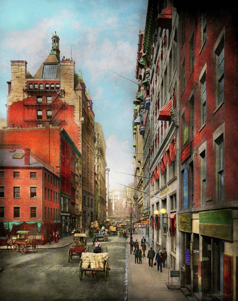 Photograph - City - Boston Ma - State St 1905 by Mike Savad